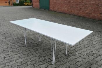 Holztisch weiß 220x90cm, Hairpin Füße